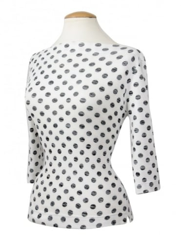 Slash Neck Top White Black Polka