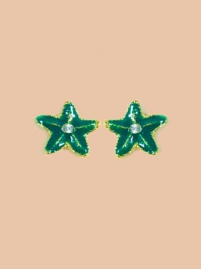 Small Green Starfish Earrings