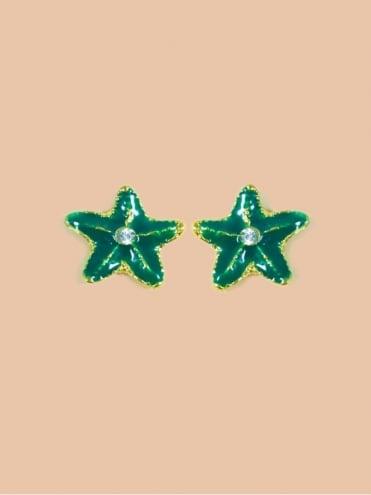 Small Green Starfish Earrings