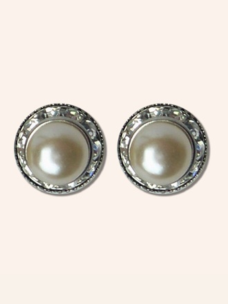 Small Pearl Diamante Stud Earrings