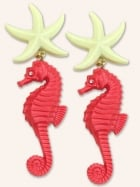 Starfish Seahorse Coral Earrings