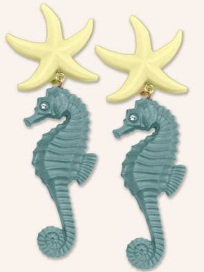 Starfish Seahorse Turquoise Earrings