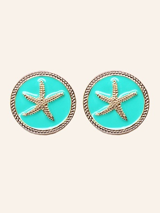 Starfish Stud Earrings - Turquoise