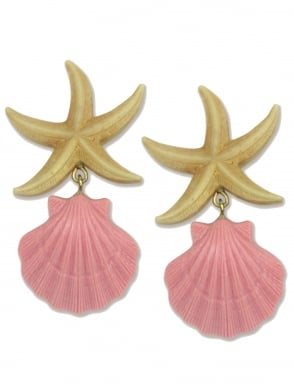 Starfish with Pink Seashell Earrings