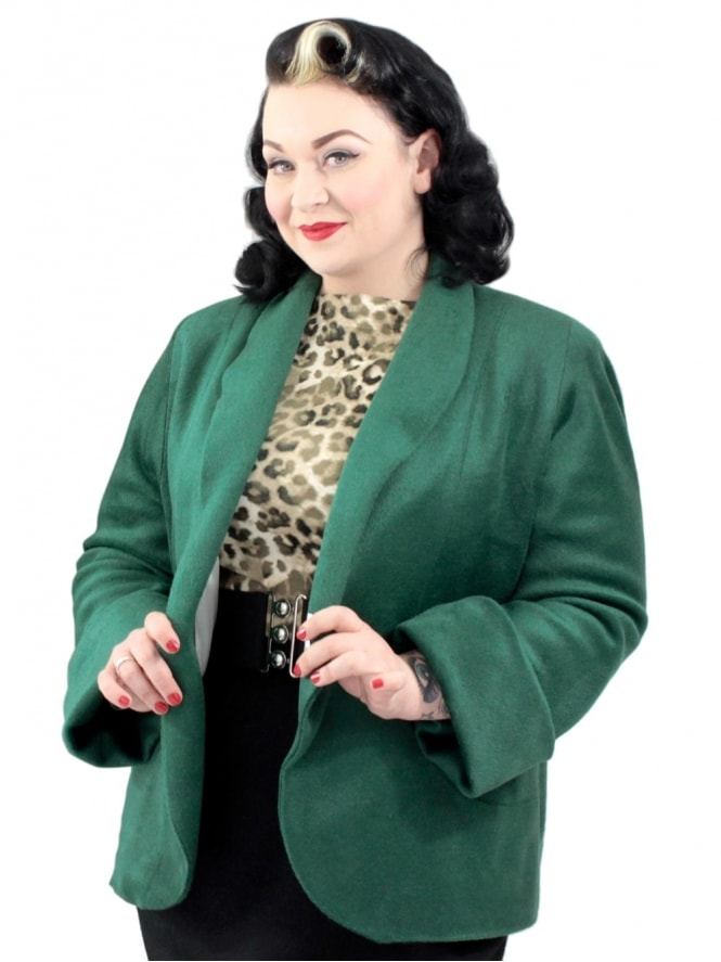 40s-1940s-Vivien-of-Holloway-Best-Vintage-Reproduction-Swagger-Jacket-Green-Rockabilly-Pinup