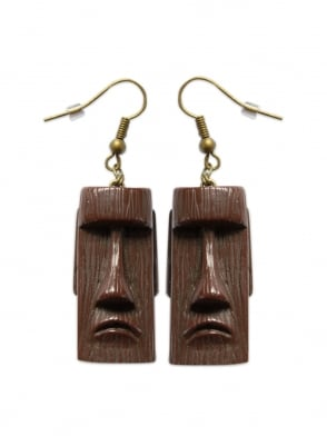 Tiki Head Brown Earrings