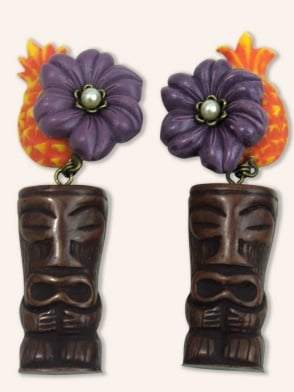 Tiki Head Purple Flower Earrings