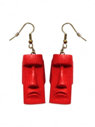 Tiki Head Red Earrings
