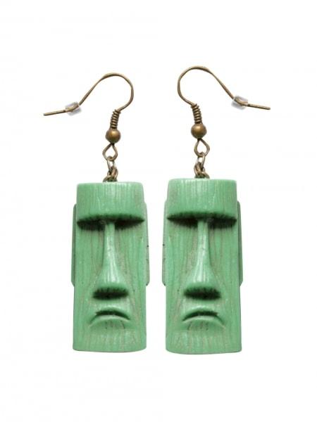 Tiki Head Sea Foam Green Earrings