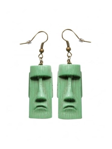 Tiki Head Sea Foam Green Earrings