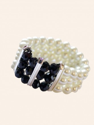Triple Pearl Black Bead Diamante Bracelet