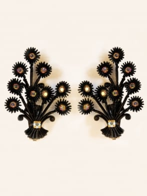 Vintage Diamante Floral Statement Black Clip On Earrings