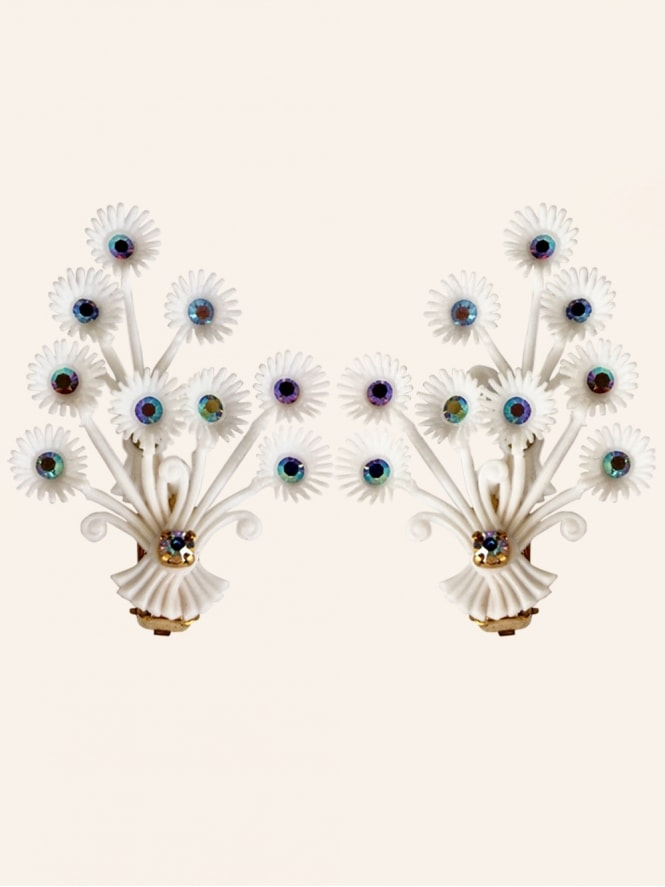 Vintage Diamante Floral Statement White Clip On Earrings