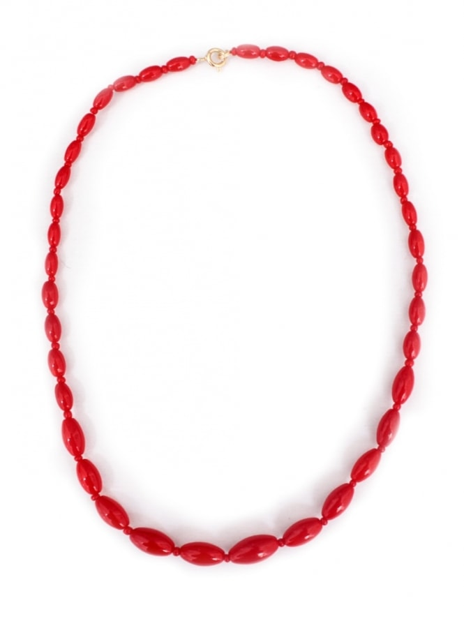 Vintage Glass Bead Red Teardrop Necklace