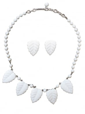 Vintage Leaf Necklace and Earring Set