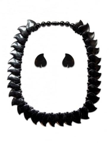 Vintage Leaf Necklace Set Black