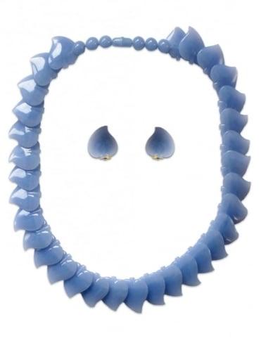 Vintage Leaf Necklace Set Carolina Blue