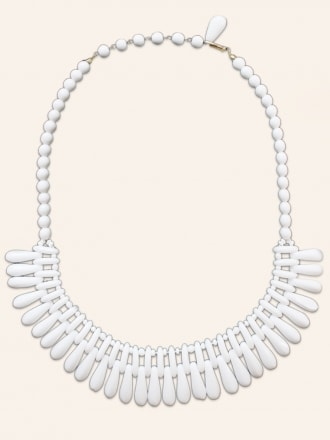 Vintage Milk Glass Fan Bead Necklace