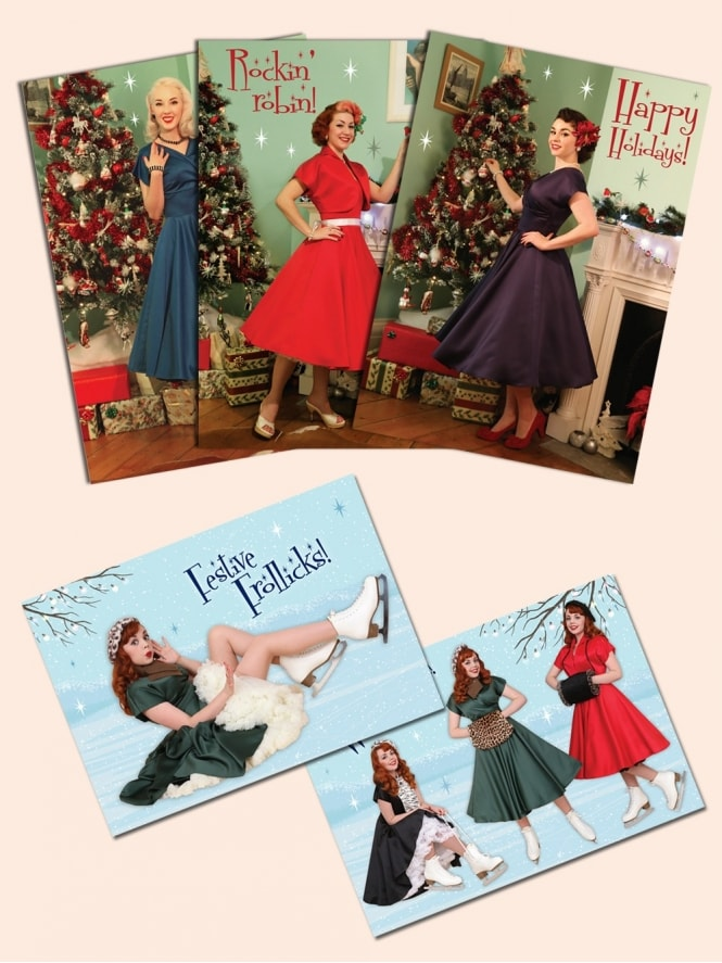 40s-50s-1940s-1950s-Vivien-of-Holloway-Best-Vintage-Style-Reproduction-Repro-Christmas-Cards-Swing-Pinup-Rockabilly-Western