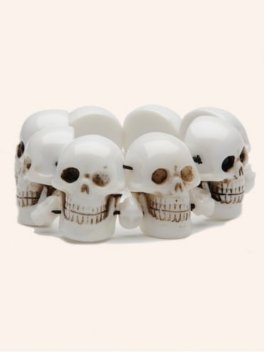 Voodoo Skull Bracelet White