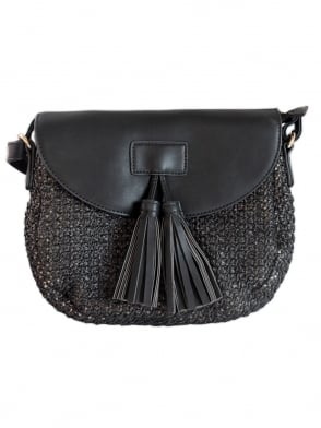 Woven Tassel Black Shoulder Bag