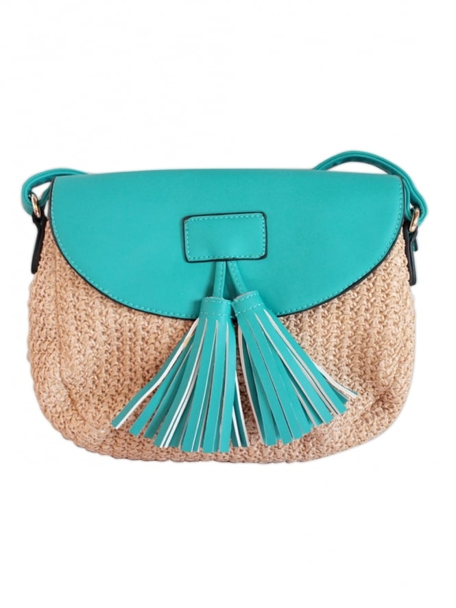 Woven Tassel Turquoise Shoulder Bag