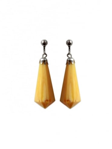 Yellow Marble Screw Back Earrings